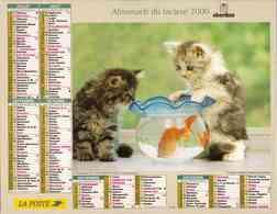 °° Calendrier Almanach La Poste 2000 Oberthur - Dépt 32 - Chatons Avec Poissons Et Chien - Calendriers
