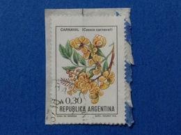 1985 ARGENTINA FIORI PIANTE CARNAVAL 0,30 FRANCOBOLLO USATO STAMP USED - Argentina