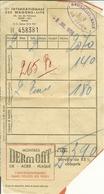 """Ticket Wagons-lits  BRUXELLES-BALE 1959 """" Pub * Montres - Scotch - Champigneulles """" - Europa"""