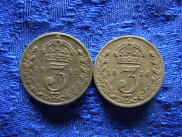 GREAT BRITAIN 3 PENCE 1912, 1916, KM813 - 1902-1971: Postviktorianische Münzen