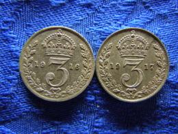 GREAT BRITAIN 3 PENCE 1916, 1917, KM813 - 1902-1971: Postviktorianische Münzen