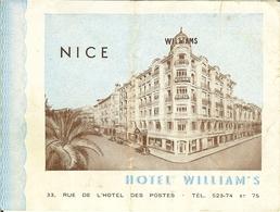 Carte TARIF De L'Hotel WILLIAM'S à NICE  . - Documents Historiques