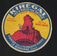 étiquette Fromage  Pate De Munster à Tartiner Kiregal  1kg En 10 Portions  Fromagerie Minoux Le Bonhomme 68 - Fromage