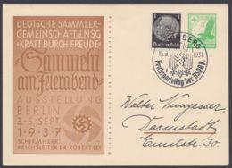 "P 245, KdF-Karte, Zusatzfrankatur, Sst ""Nürnberg-Parteitag"", 13.9.37 - Alemania"