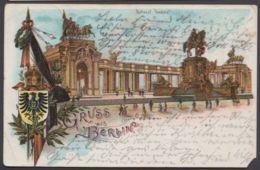 """Berlin"", Nationaldenkmal, Farb-Litho, 1904 Gelaufem, Kl. Eckfehler - Mitte"