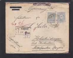 EINGESCHRIEBENER  BRIEF  VON KABUL NACH HOHENTRÜDINGEN,VERSCHIEDENE STEMPELN,1928.LETTRE RECO. DE KABOUL POUR L'ALLEMAGN - Afganistán