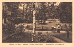 R193727 Pension Villa Zink. Besitzer J. Goetz. Baden Baden. Gartenansicht Mit Liegehalle. P. Korbitz - Ansichtskarten
