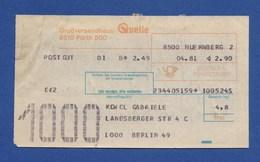 Beleg Postgut Großversandhaus QUELLE FÜRTH NÜRNBERG > BERLIN 1981 - BRD