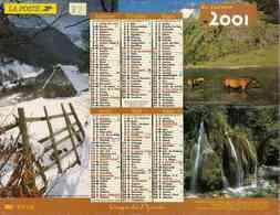 °° Calendrier Almanach La Poste 2001 Lavigne - Dépt 32 - Paysages Et Animaux De Nos Montagnes - Groot Formaat: 2001-...
