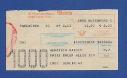 Beleg Päckchen Großversandhaus QUELLE FÜRTH NÜRNBERG > BERLIN 1980 - BRD