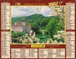 °° Calendrier Almanach La Poste 2001 Oller - Dépt 32 - Châteaux De La Loue Et De Coze - Groot Formaat: 2001-...