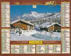 °° Calendrier Almanach La Poste 2001 Oller - Dépt 32 - Megève Et Vallée De Chamonix - Kalenders