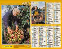 °° Calendrier Almanach La Poste 2001 Oller - Dépt 32 - Récoltes De Pommes Et De Roses - Groot Formaat: 2001-...