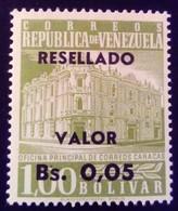 Venezuela 1965 Hôtel Des Postes Caracas Surchargé Overprinted RESELLADO Yvert 707 ** MNH - Madagaskar (1960-...)
