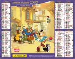 °° Calendrier Almanach La Poste 2002 Cartier Bresson - Dépt 32 - Pinocchio Dessin Animé Disney - Groot Formaat: 2001-...