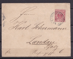 DEUTSCHES REICH BRIEF MiNr 47 HILDBURGHAUSEN - LANDAU V. 5.11.1891 - Germany