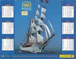 °° Calendrier Almanach La Poste 2002 Lavigne - Dépt 32 - Bateaux à Voile Trois Mâts - Kalenders