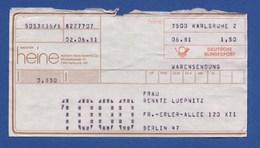 Beleg Warensendung Heinrich Heine Gmbh & Co. KARLSRUHE > BERLIN - BRD