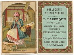 CALENDRIER  CHROMO  1891  /  Paysanne  Russe  /  Pub : Horlogerie  L. Bazerque  Bordeaux - Kalenders