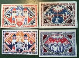 Deutsches Reich Notgeld BIELEFELD 1921-22 25 Mark-50 Mark Seide + Leinen 4 Stück  (Banknote Soie Billet Silk Textile - Lokale Ausgaben