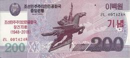 COREE DU NORD 200 WON 2018 AUNC P New (70e Anniversaire) - Corée Du Nord