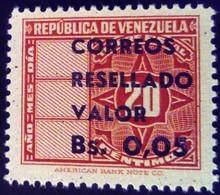 Venezuela 1965 Timbre Fiscal Surchargé Overprinted RESELLADO Yvert 719 ** MNH - Madagaskar (1960-...)