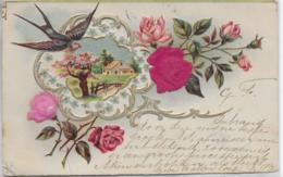 AK 0272  Gruss-Karte - Schwalbe , Landschaft , Blumen Aus Filz Ca. Um 1900 - Malerei & Gemälde