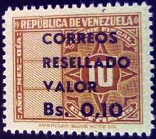 Venezuela 1965 Timbre Fiscal Surchargé Overprinted RESELLADO Yvert 720 ** MNH - Madagaskar (1960-...)