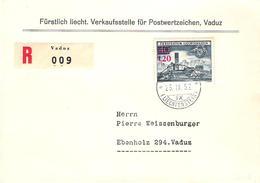 """Liechtenstein 1953: Aufdruck """"1.20"""" (rot) Zu 254 Mi 310 Yv 271 Auf R-FDC Mit O VADUZ 25.IX.52 (Zumstein CHF 225.00) - FDC"""