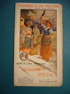 1905  GUIDA DELLA LINEA FERROVIARIA   GENOVA - LA SPEZIA    CTI  40 PAGINE CON MAPPA - Dépliants Turistici