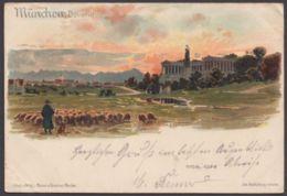 """""""München"""", Bavaria Mit Schafherde, Farbig, 1900 Gelaufen - München"""