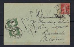 N°TX28 GESTEMPELD OP KAART VANUIT Frankrijk 1921 COB € +10,00 - Covers