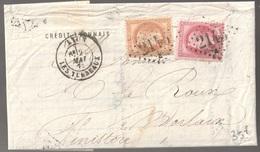 Lettre France N° 31 Et 32 Napoléon GC 2145 Lyon Les Terreaux - 1849-1876: Periodo Classico