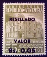 Venezuela 1965 Hôtel Des Postes Surchargé Overprinted RESELLADO Yvert PA814 ** MNH - Madagaskar (1960-...)
