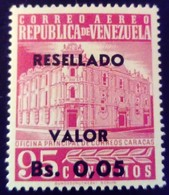 Venezuela 1965 Hôtel Des Postes Surchargé Overprinted RESELLADO Yvert PA819 ** MNH - Madagaskar (1960-...)