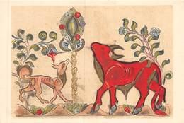 PIE.T Jm2.19-7625 : CARTE ILLUSTREE. LES ARTS DE L'IRAN. FABLES DE BIDPAY. DIMNAH ET LE BOEUF SHANZABEH. ECOLE DE BAGDAD - Iran