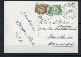 N°TX33+TX44 GESTEMPELD OP KAART VANUIT Duitsland 1952 COB € +9,00 - Lettres