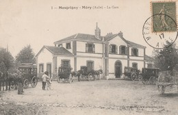 MESGRIGNY-MERY - LA GARE - CARTE ANIMEE - BEAUX ATTELAGES  - TOP !!! - Francia