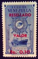 Venezuela 1965 Bateau Boat Surchargé Overprinted RESELLADO Yvert PA822 ** MNH - Madagaskar (1960-...)