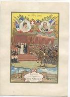 CHROMO AU BON MARCHE  GRAND FORMAT OCTOBRE 1903 VISITE ROI ITALIE VICTOR EMMANUEL REINE HELENE Champenois - Au Bon Marché
