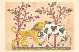 PIE.T Jm2.19-7629 : CARTE ILLUSTREE. ARTS DE L'IRAN.LE LION TUANT LE BOEUF SHANZABEH.   ECOLE DE BAGDAD - Iran