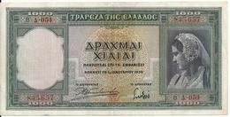 GRECE 1000 DRACHMAI 1939 VF+ P 110 - Grecia