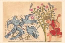 PIE.T Jm2.19-7631 : CARTE ILLUSTREE. ARTS DE L'IRAN. OISELEUR ET COLOMBES CAPTIVES..   ECOLE DE BAGDAD - Iran