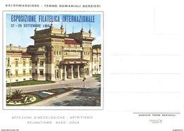 ITALIA - 1958 SALSOMAGGIORE T. (PR) 3^ Esposizione Fil. + Timbro Che Raffigura Le Terme Su Cartolina Speciale - Hydrotherapy