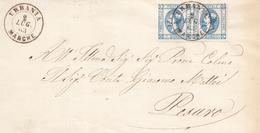 89 - REGNO - Lettera Con Testo Del 2 Luglio 1863 Da Urbania A Pesaro Con Coppia Di Cent.15 Lito 1° Tipo . - 1861-78 Vittorio Emanuele II
