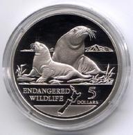 Neuseeland 1993: 5 Dollar Silbermünze ,,Seelöwen,, PP/proof - Münzen