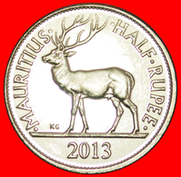 + STAG (1987-2016): MAURITIUS ★ 1/2 RUPEE 2013 MINT LUSTER! LOW START ★ NO RESERVE! - Mauritius