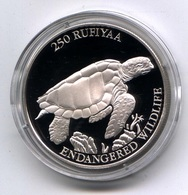 Malediven 1994: 250 Rufiyaa Silbermünze ,,Karettschildkröte,, PP/proof - Malediven