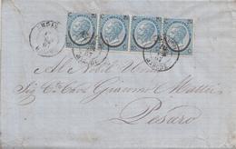 90- Lettera Con Testo Del 1867 Da Urbino A Pesaro Con 4 Valori Da Cent 20 Su 15 Ferro Di Cavallo 3° Tipo  . - 1861-78 Vittorio Emanuele II