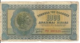 GRECE 1000 DRACHMAI 1941 VG+ P 117 - Grecia